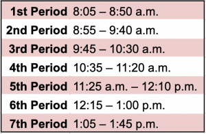 Modified Bell Schedule for May 19 and 26